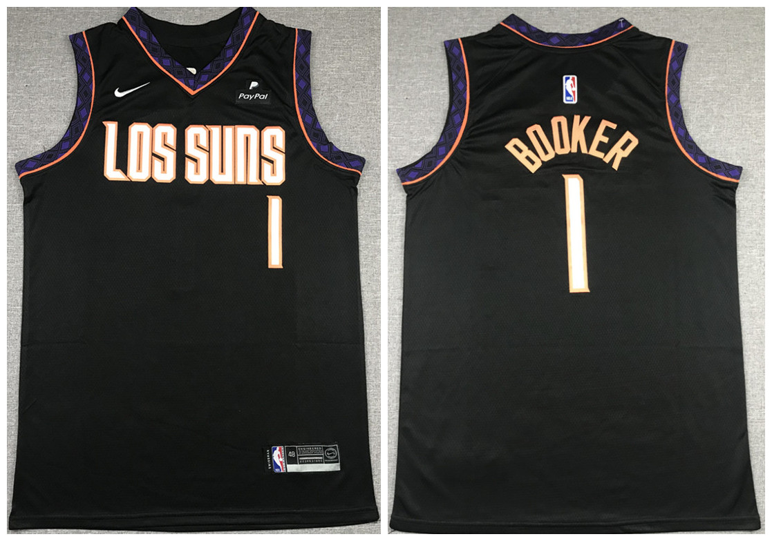 Men's Phoenix Suns #1 Devin Booker Black Stitched NBA Jersey