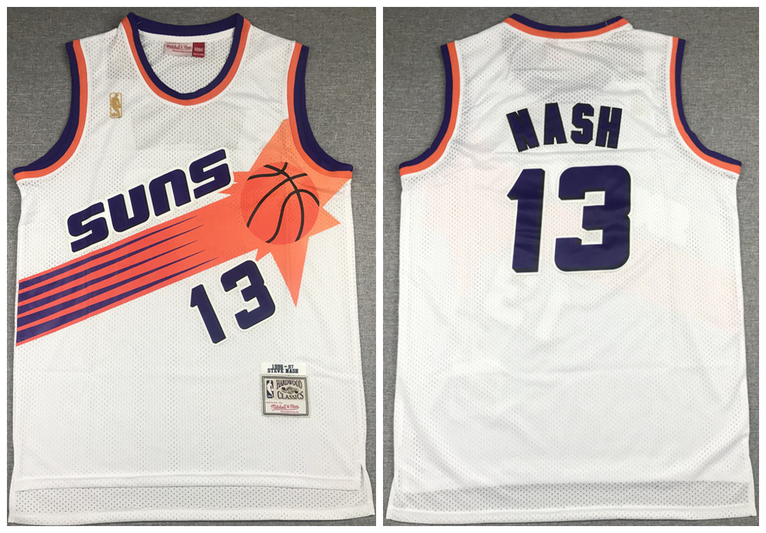 Men's Phoenix Suns #13 Steve Nash White 1996-97 Throwback Stitched Jersey