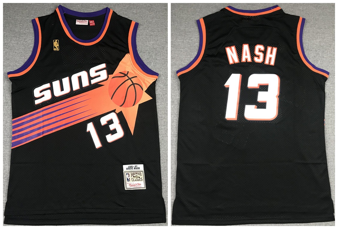 Men's Phoenix Suns #13 Steve Nash Black 1996-97 Throwback Stitched Jersey