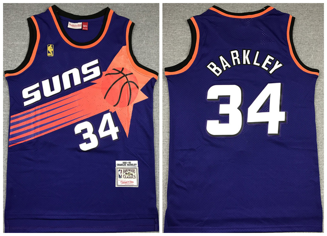 Men's Phoenix Suns #34 Charles Barkley Purple 1992-93 Throwback Stitched Jersey