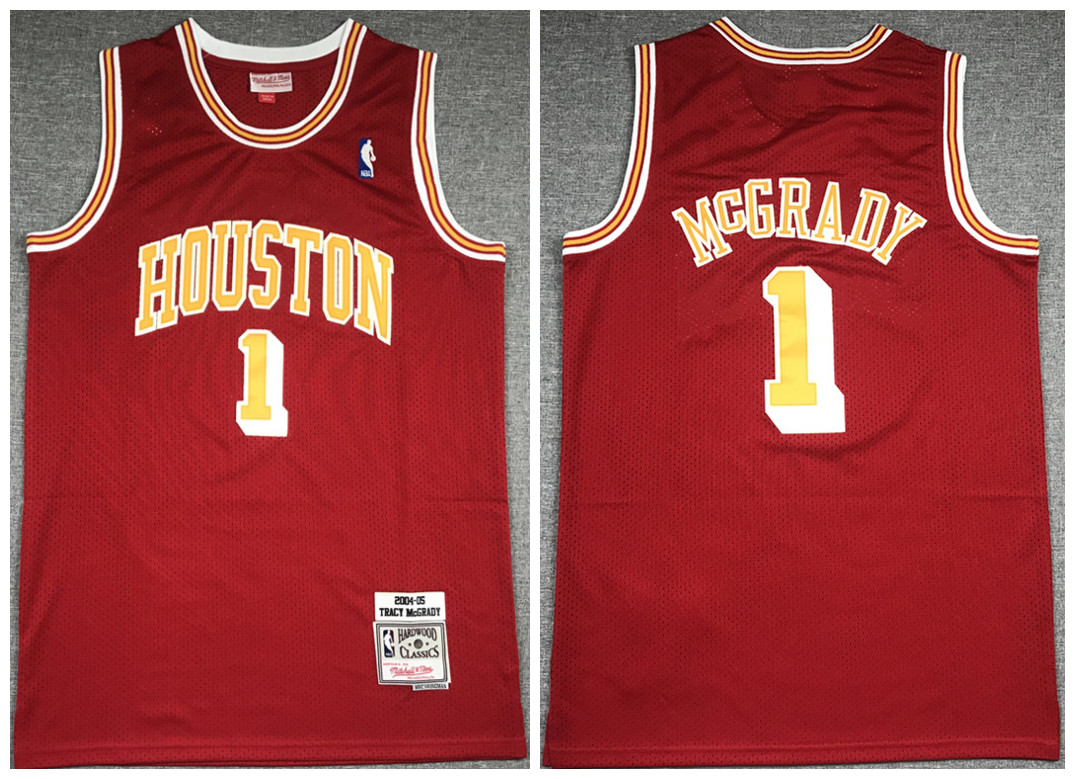 Men's Houston Rockets #1 Tracy McGrady 2004-05 Red Throwback Stitched Jersey