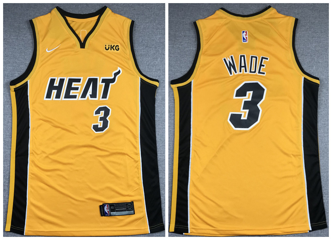 Men's Miami Heat #3 Dwyane Wade Gold Stitched NBA Jersey