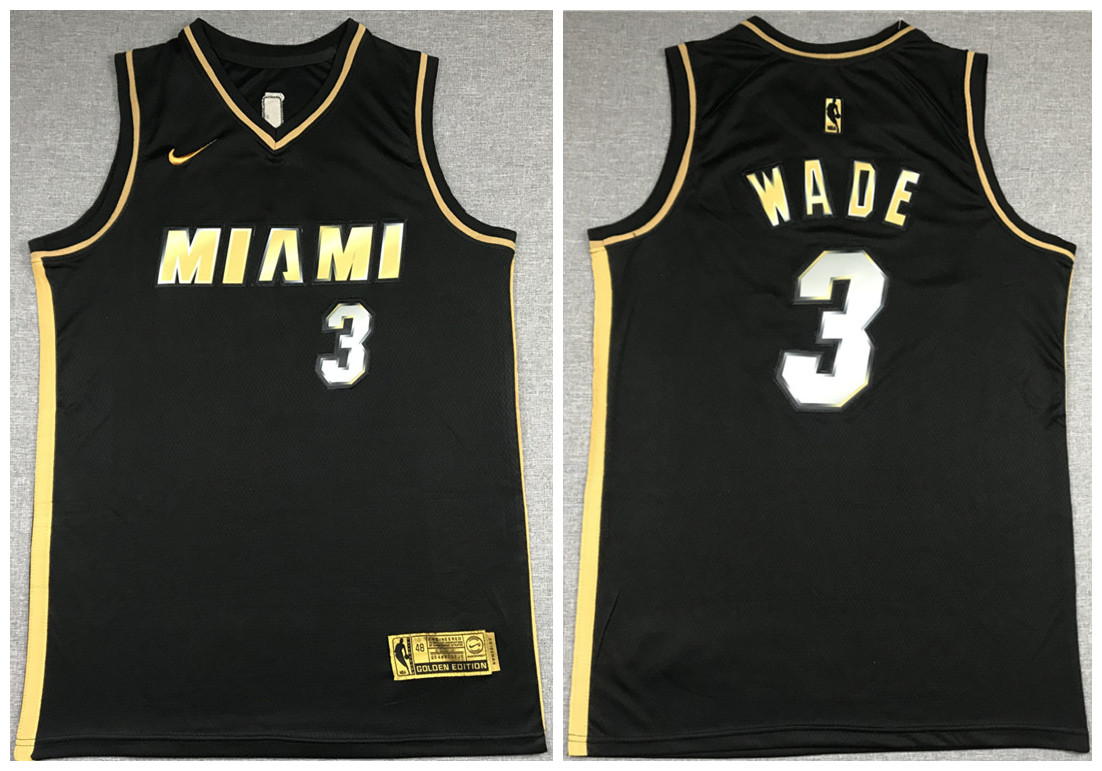 Men's Miami Heat #3 Dwyane Wade Black Gold Edition Vice Stitched Jersey