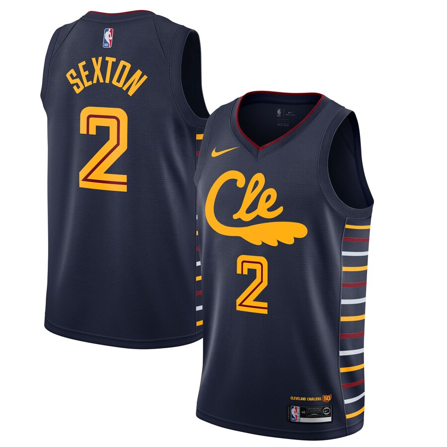 Men's Cleveland Cavaliers #2 Collin Sexton Navy 2019 City Edition Stitched NBA Jersey