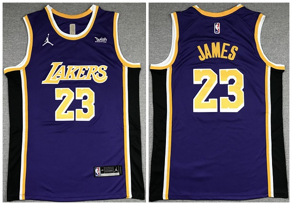 Men's Los Angeles Lakers #23 LeBron James Purple Stitched Jersey
