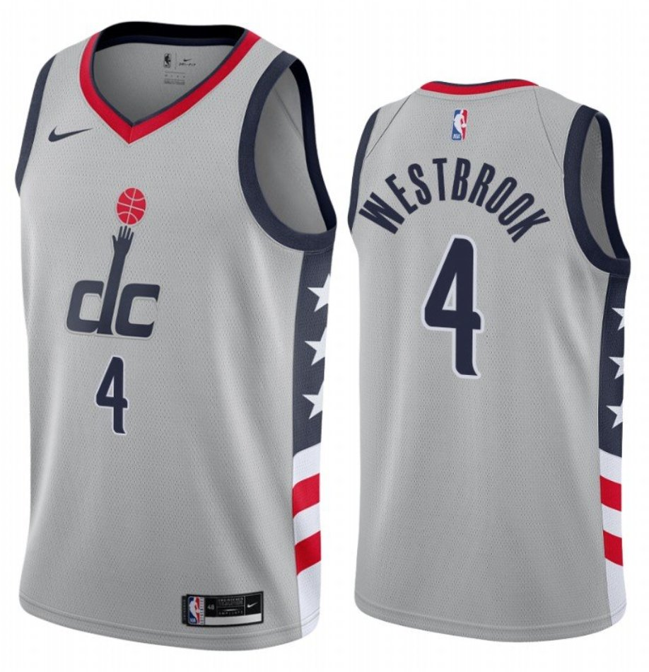 Men's Washington Wizards #4 Russell Westbrook Grey City Edition Stitched Jersey