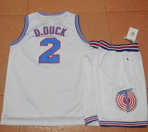Space Jam Tune Squad #2 Daffy Duck White Stitched Basketball Jersey