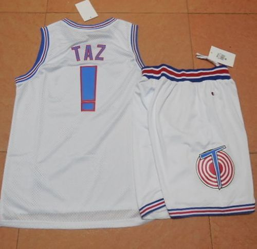 Space Jam Tune Squad #1 Taz White Stitched Basketball Jersey
