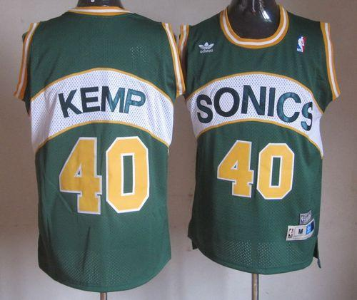 Thunder #40 Shawn Kemp Green SuperSonics Throwback Stitched NBA Jersey