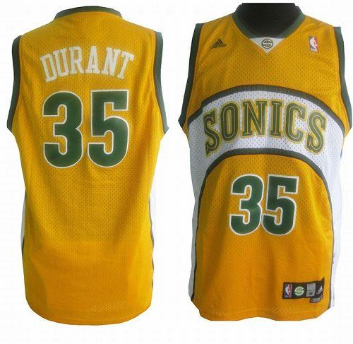 Thunder #35 Kevin Durant Yellow Seattle SuperSonics Style Stitched NBA Jersey