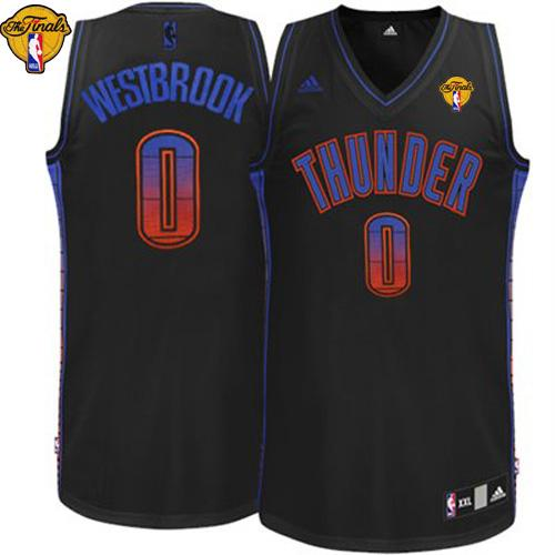 Thunder #0 Russell Westbrook Black Finals Patch Stitched NBA Vibe Jersey