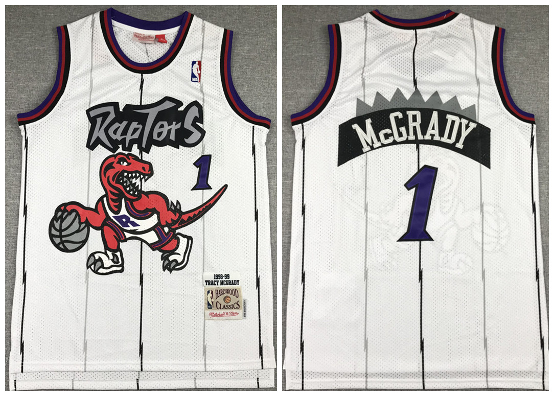 Men's Toronto Raptors #1 Tracy Mcgrady White Throwback Stitched Jersey