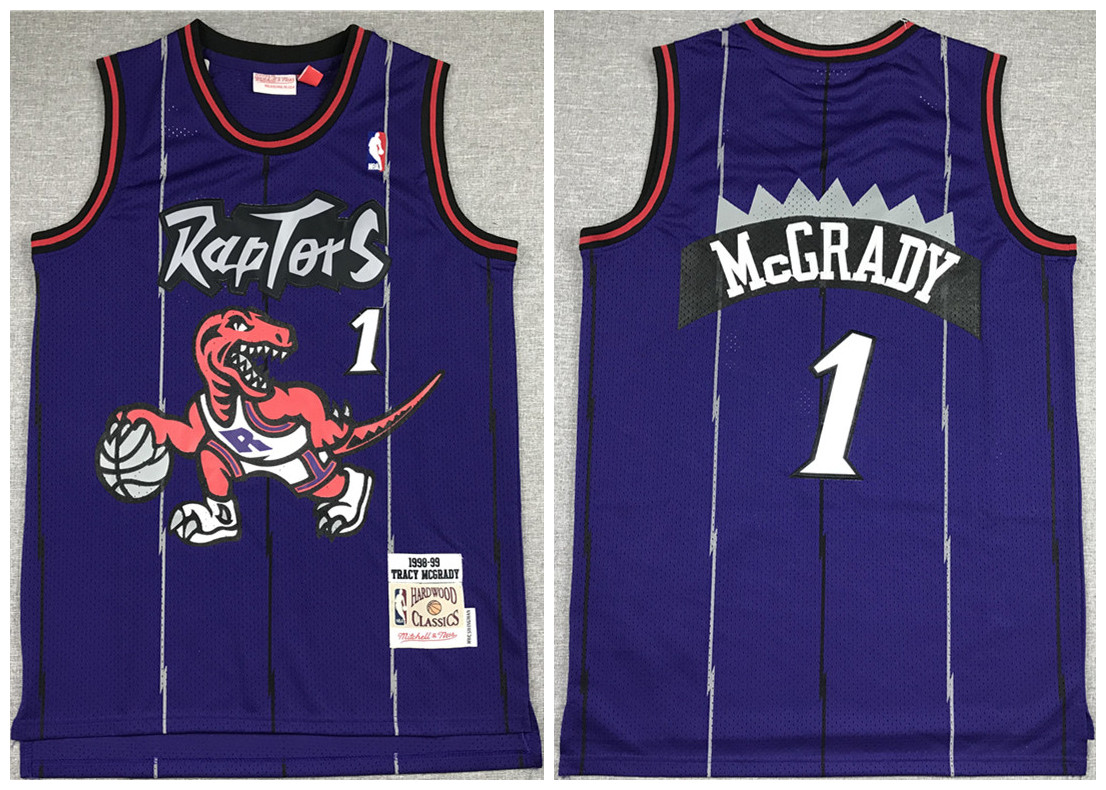 Men's Toronto Raptors #1 Tracy Mcgrady Purple Throwback Stitched Jersey