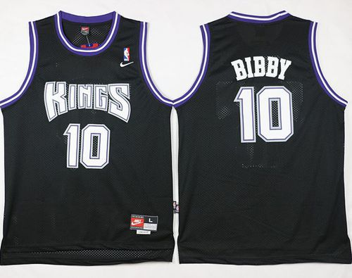 Kings #10 Mike Bibby Black Throwback Stitched NBA Jersey