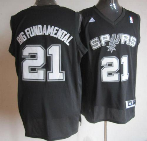 Spurs #21 Tim Duncan Black Big Fundamental Stitched NBA Jersey