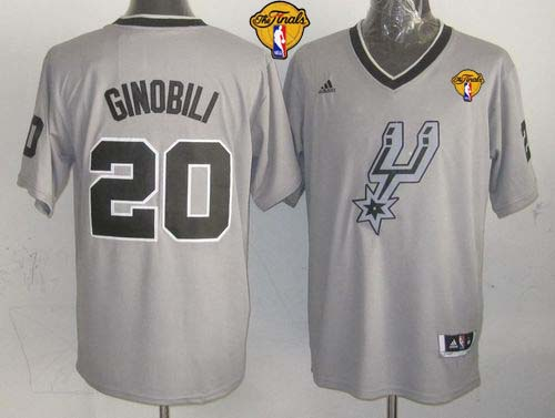 Spurs #20 Manu Ginobili Grey 2013 Christmas Day Swingman Finals Patch Stitched NBA Jersey