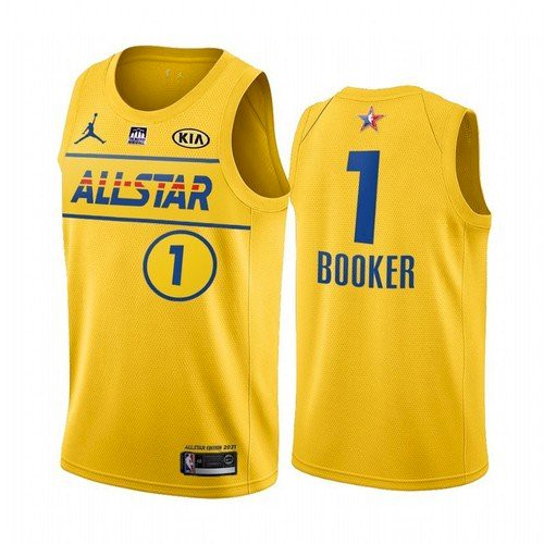 Men's 2021 All-Star Suns #1 Devin Booker Yellow Western Conference Stitched NBA Jersey