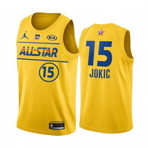 Men's 2021 All-Star #15 Nikola Jokic Yellow Western Conference Stitched NBA Jersey