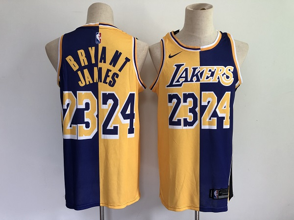 Men's Los Angeles Lakers #23 LeBron James #24 Kobe Brant Purple Gold Split Special Stitched NBA Jersey