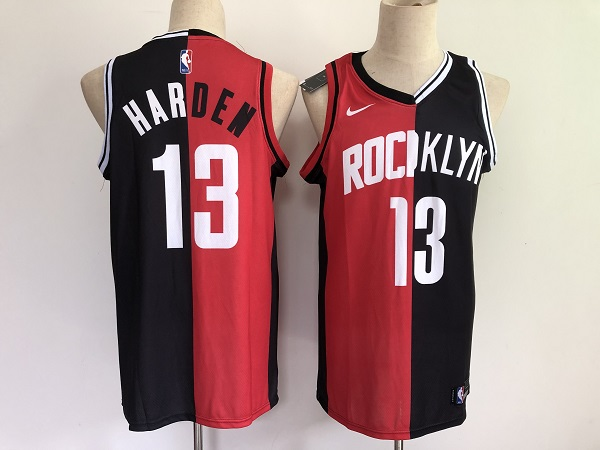 Men's Brooklyn Nets And #13 James Harden Black Red 2021 Past & Present MVP Stitched NBA Jersey