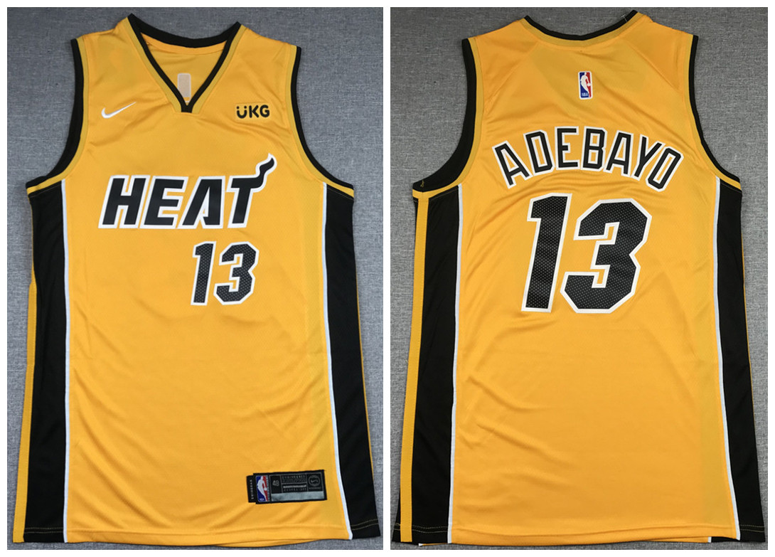 Men's Miami Heat #13 Bam Adebayo Gold Stitched NBA Jersey