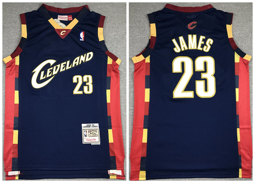 Men's Cleveland Cavaliers #23 LeBron James 2008-09 Navy Throwback Stitched Jersey