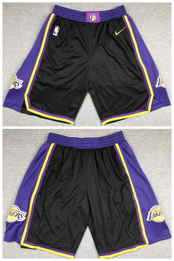 Men's Los Angeles Lakers Black and Purple Shorts (Run Small)