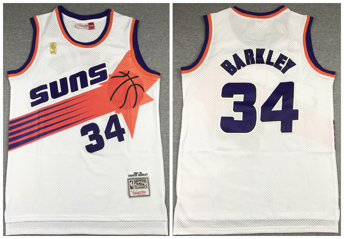 Men's Phoenix Suns #34 Charles Barkley White 1992-93 Throwback Stitched Jersey