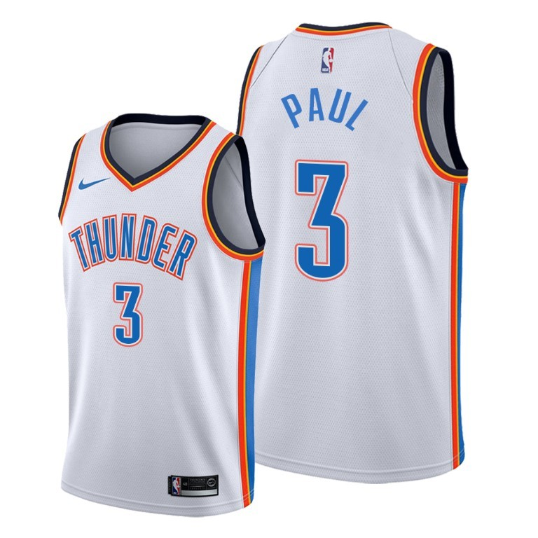 Men's Oklahoma City Thunder #3 Chris Paul White Stitched NBA Jersey