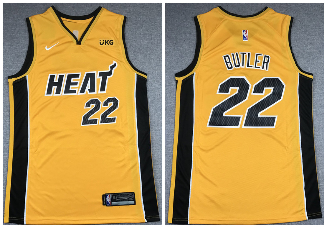 Men's Miami Heat #22 Jimmy Butler Gold Stitched NBA Jersey
