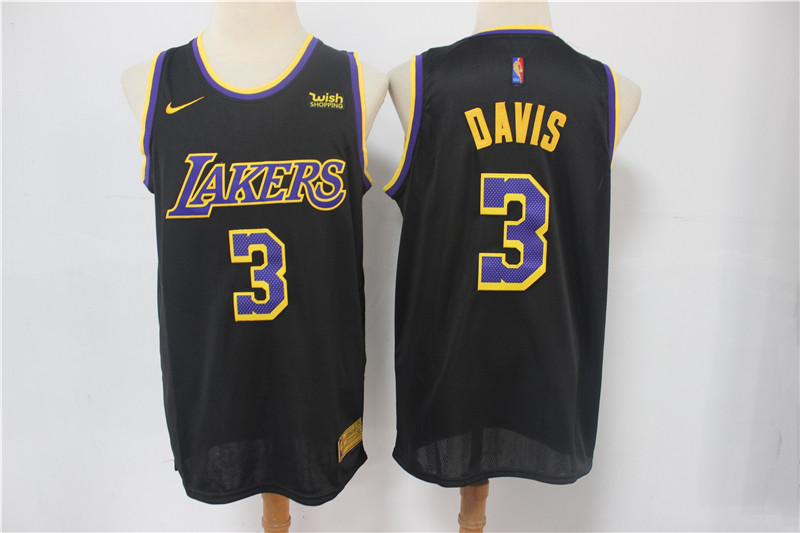 Men's Los Angeles Lakers #3 Anthony Davis Black Stitched NBA Jersey