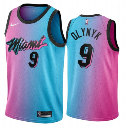 Men's Miami Heat #9 Kelly Olynyk 2020-21 Blue/Pink City Edition Stitched Jersey