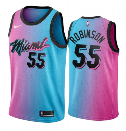 Men's Miami Heat #55 Duncan Robinson 2020-21 Blue/Pink City Edition Stitched Jersey