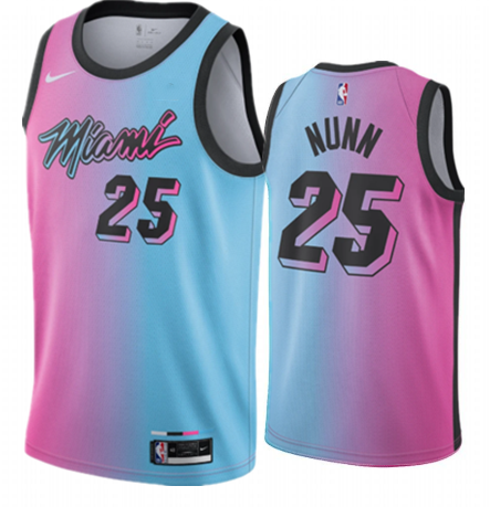 Men's Miami Heat #25 Kendrick Nunn 2020-21 Blue/Pink City Edition Stitched Jersey