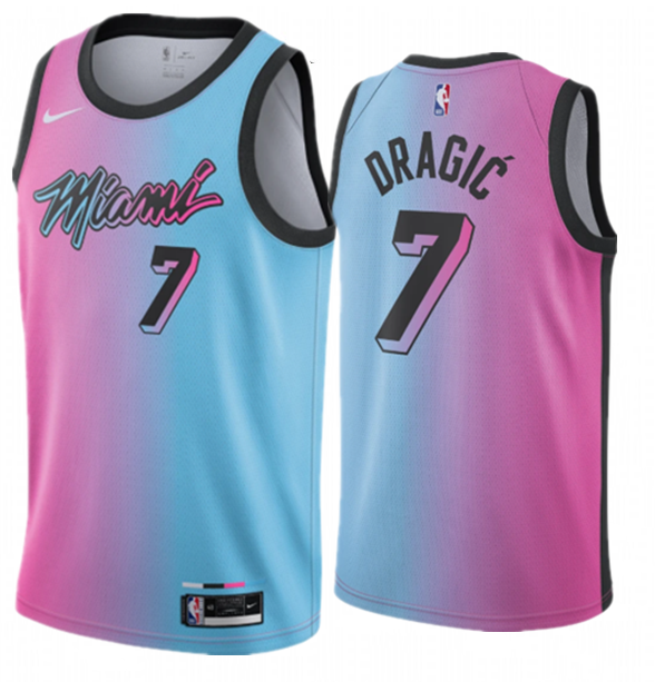 Men's Miami Heat #7 Goran Dragic 2020-21 Blue/Pink City Edition Stitched Jersey