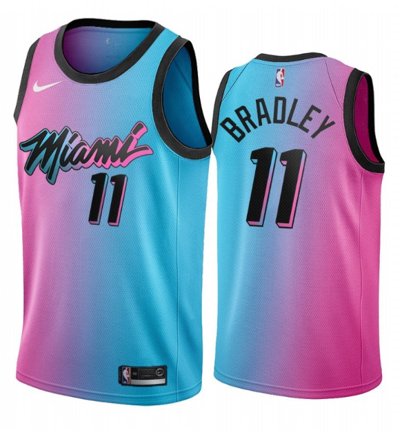 Men's Miami Heat #11 Avery Bradley 2020-21 Blue/Pink City Edition Stitched Jersey