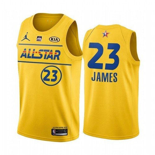 Men's 2021 All-Star Lakers#23 LeBron James Yellow Western Conference Stitched NBA Jersey