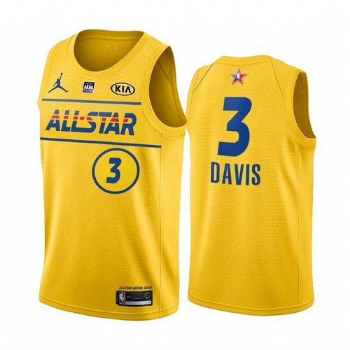 Men's 2021 All-Star Lakers #3 Anthony Davis Yellow Western Conference Stitched NBA Jersey