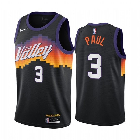 Men's Phoenix Suns #3 Chris Paul 2020 Black City Edition Stitched Jersey
