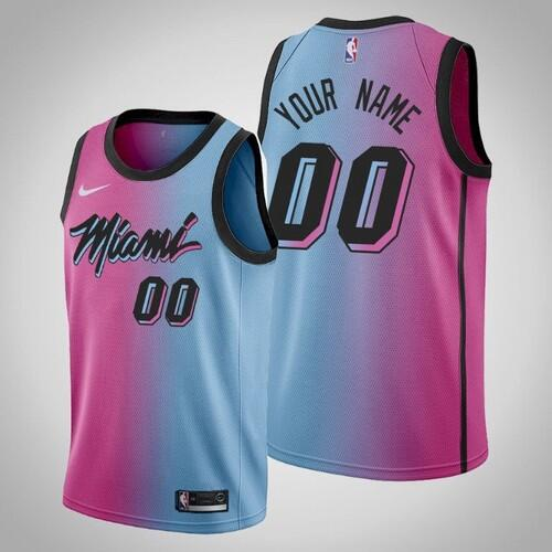 Men's Miami Heat Active Player 2020 Blue/Pink City Edition Vice Stitched Jersey