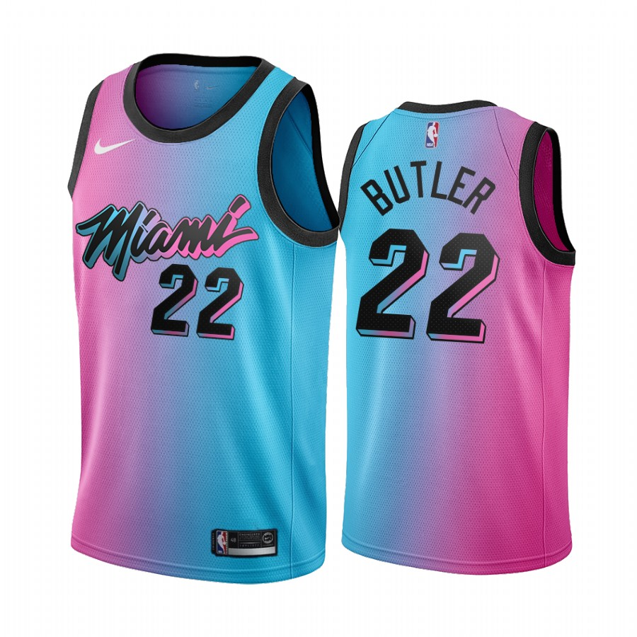 Men's Miami Heat #22 Jimmy Butler Blue/Pink City Edition Vice Stitched Jersey
