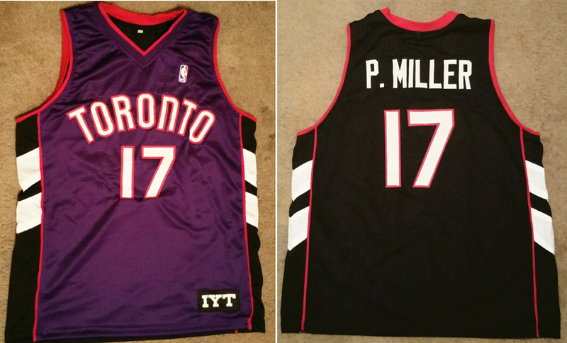 Men's Toronto Raptors #17 P. Miller Purple And White Stitched NBA Jersey