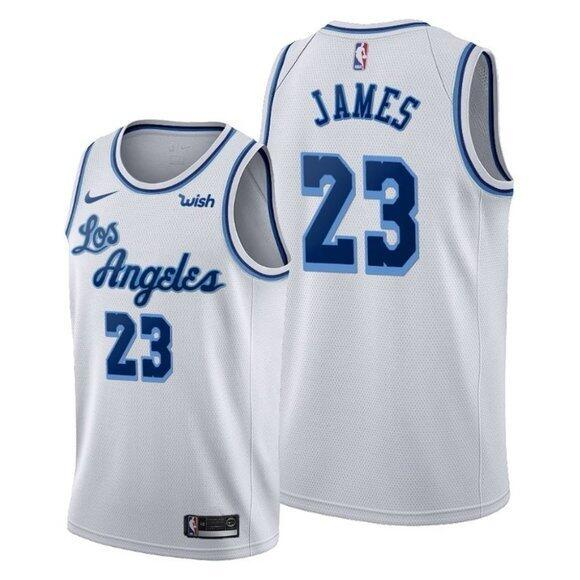Men's Los Angeles Lakers #23 LeBron James White Classic Edition Swingman Stitched Jersey