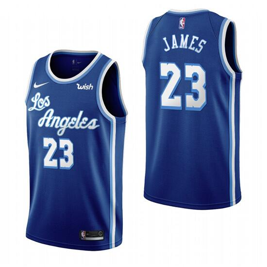 Men's Los Angeles Lakers #23 LeBron James Blue Classic Edition Swingman Stitched Jersey