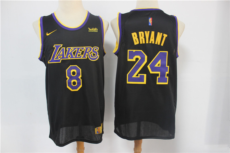 Men's Los Angeles Lakers Front #8 Back #24 Kobe Bryant Black Stitched Jersey