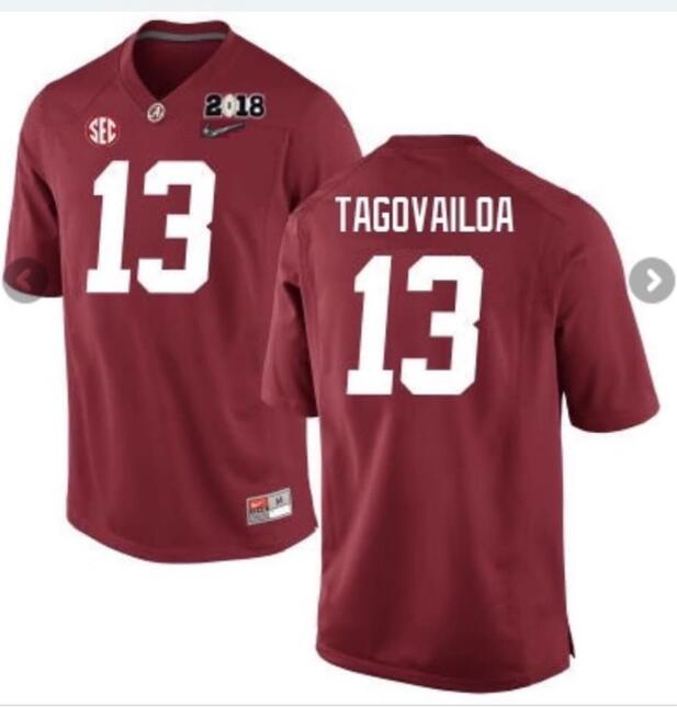 Men's Alabama Crimson Tide #13 Tua Tagovailoa Red 2018 Patch Stitched NCAA Jersey