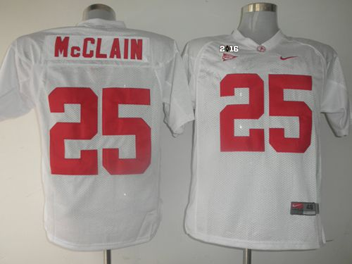 Crimson Tide #25 Rolando McClain White 2016 College Football Playoff National Championship Patch Stitched NCAA Jersey