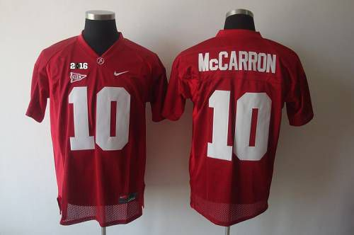 Crimson Tide #10 AJ McCarron Red 2016 College Football Playoff National Championship Patch Stitched NCAA Jersey