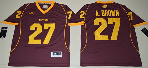 Chippewas #27 Antonio Brown Maroon Stitched NCAA Jersey