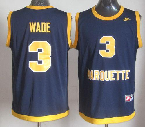 Golden Eagles #3 Dwyane Wade Navy Blue Basketball Stitched NCAA Jersey